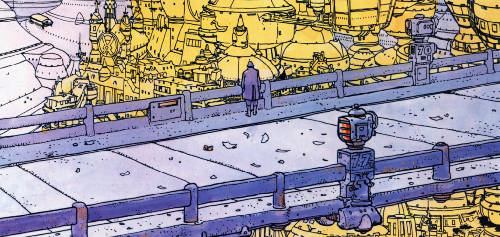 Viñeta de Moebius en el cómic 'The Long Tomorrow'