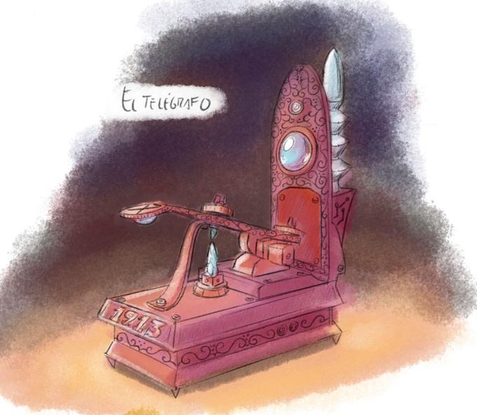 Uno de los dibujos de Víctor Jiménez para el cómic 'La leyenda del telégrafo'