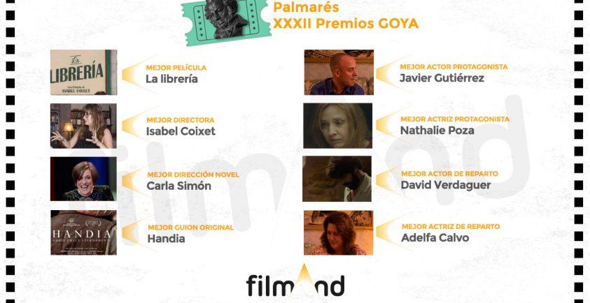 Palmarés completo Premios Goya 32 edición