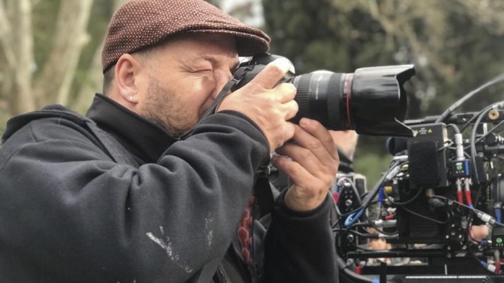 Julio Vergne durante un rodaje.