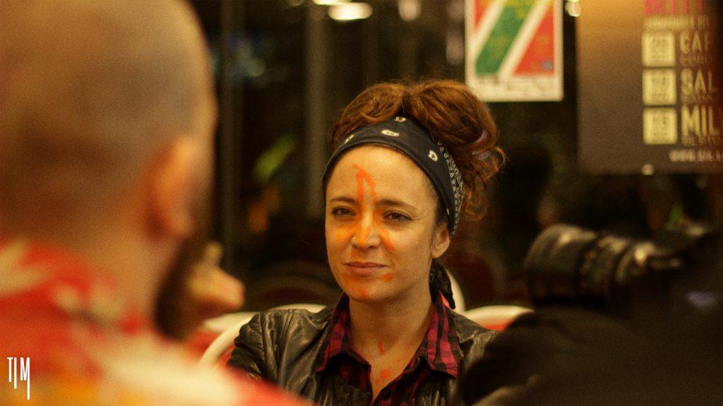 La actriz Laura Porras-Wadley durante el rodaje