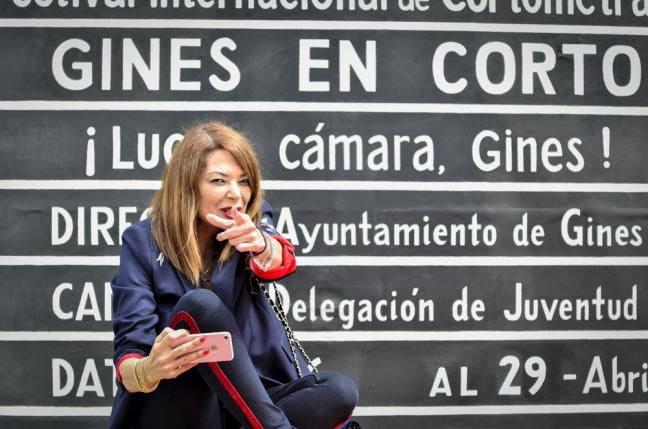 Lucía Hoyos durante la presentación de Ginés en corto.