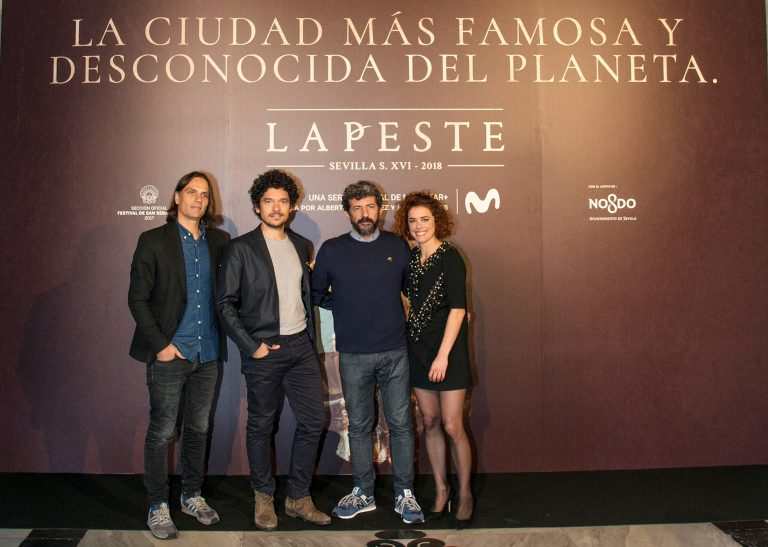 Rafael Cobos (primero por la izquierda) junto con Alberto Rodríguez (tercero por la izquierda), Pablo Molinero y Patricia López Arnáiz,