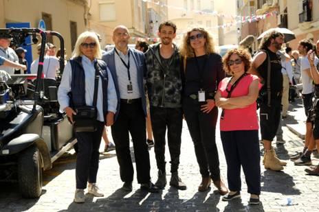 La productora Barbara Broccoli junto a Carlos Rosado (Spain Film Commission), Piluca Querol (Andalucía Film Commission) y Sara Gallardo (Asociacion Andaluza de Mujeres de los Medios Audiovisuales-AAMMA)