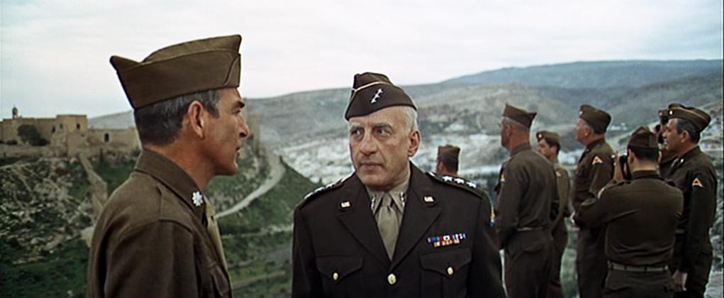 Gerge C. Scott en Patton con La Alcazaba al fondo