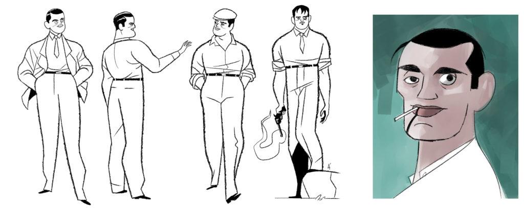 Bocetos del personaje de Buñuel realizados por José Luis Ágreda.