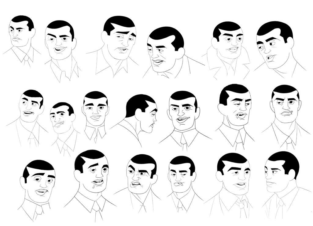 Estudio de las expresiones del personaje de Buñuel.