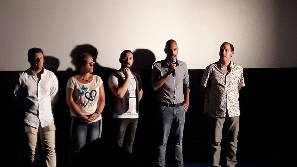 El director y algunos de los miembros del equipo de Patria en la presentación del cortometraje.