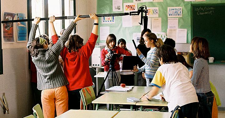 Rodaje de los alumnos de 6º de la Aula de cine de Bordils.