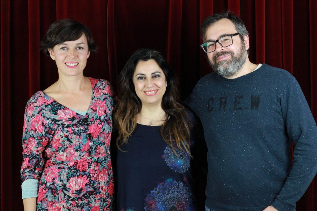 La cineasta Lourdes Palacios, la actriz Tamara Arias y el cineasta Jorge Tsabutzoglu.